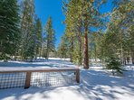 There's plenty of room to frolic and build snow forts in the spacious yard.