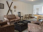 Pool Table and Social Lounge Area on bottom level of townhome