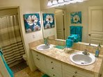 Guest Bathroom with lots of room and separate shower / toilet area makes it perfect for families