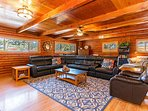 Large open living room with  plenty of comfortable seating