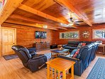 Large 65' TV is perfect for sports fanatics!