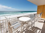 Top quality patio furniture on the beach front balcony.