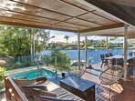 great entertaining deck that runs of the kitchen , lounge room and main bedroom