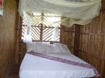 Bedroom with queen bed and embedded mosquito net.
