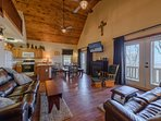 Great Room with Vaulted Ceilings and Wood Floors