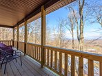 Main Level Covered Deck, looking out at the Mountain Views!
