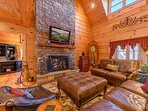 Great Room with Leather Furniture, Fireplace and HDTV