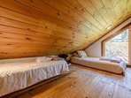 Sleeping Loft above Den with Two Twin Beds