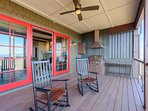 Built-in Stainless Gas Grill with Hood Fan on Main Level Deck