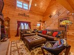 Great Room with Vaulted Tongue in Groove Ceilings, Hardwood Floors