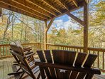 Wood Rocking Chairs on Covered Deck
