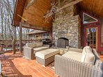 Comfy Outdoor Lounging Furniture & Gas Grill on Back Deck
