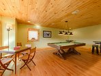 : Game Room with Pool Table and Pub-style Seating