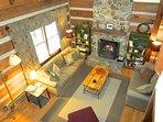 Trailhead Cabin Living Room from Loft