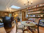Den with Card Table, Comfortable Seating, TV, Games, Gas Log fireplace