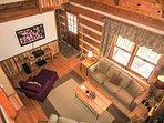 Trailhead Cabin Living Room TV as viewd from Loft