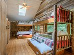 Loft Bedroom with Double Bunk Beds, 2 Trundle Beds, one Full Bed sleeps up to 8