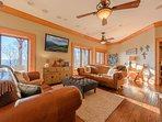 Phoenix Mountain Lodge Downstairs Family Room with huge HDTV, upscale furnishings & decor