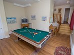 Mountain Majesty lower level game room with pool table and tv