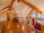 Phoenix Mountain Lodge Loft with Stone Fireplace, Desk, and Comfy Seating, Game Room and Bedroom with Bunk Beds