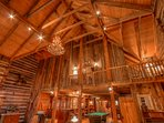 Johnsons Lodge Soaring Timbers in Great Room, Catwalk from Master Overlooking Great Room with Small Sitting Area