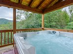 Large Hot Tub on Rear Covered Deck which Faces Mountain Views