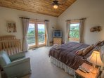 Mountain Majesty Upstairs King Bedroom with deck access