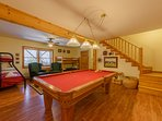 Downstairs Gameroom with Pool Table, TV