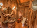 Full Hallway Bath, Main Wing, Hammered Copper Sink, Barn Wood Shower Door, Old Fashioned Tub