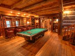 Johnsons Lodge Billiard Table and Full Bar with 4 Seats at the Bar