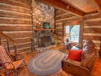 Johnsons Lodge Living Room on Lower Level, Original Cabin Wing, LARGER SCREEN TV HAS BEEN ADDED