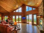Mountain Top Lodge Open Floor Plan, Stone Fireplace, Big Views