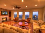 Whispering Hills Spacious Living Room with Gas Fireplace, Flatscreen and Great Views