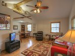 Haynes Heaven Cozy, Cool living space with flat screen TV and plush furniture.