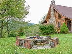 Outdoor Fire Pit with Rustic Log Seats and Grill Grates for BBQ-ing