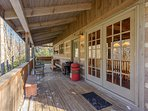 Covered Back Porch with Peaceful Creek Below, Quiet Wooded Space Behind House