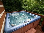 Grandfather View Cabin hot tub on deck