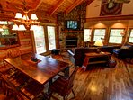Grandfather View Cabin large dining room table and deck access