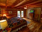 Grandfather View Cabin master bedroom on main floor
