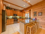 Kitchen with Updated Stainless Steel Appliances, seating at bar