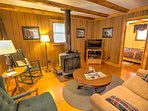 Fishing Cottage Cozy Living Room with Wood Stove and Flat Screen TV