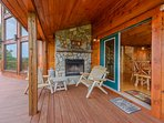 Fireplace with comfortable seating on deck