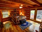 Grandfather View Cabin master bedroom with deck access