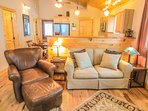 Bear Tracks Cabin Nice Leather Seat and Living Room Sofa