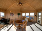 Cabin Above the Clouds Upstairs Family Den with Flat Screen TV, Game Table that includes Bumper Pool, Desk, 2 Leather...