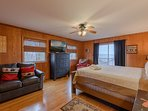 Lower Level King Bedroom with Private Deck, TV, Sleeper Sofa