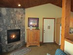 Cherokee Cottage Living Room has gas fireplace.