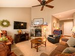 Ansley Heights Cozy Living Room with Wood-Burning Fireplace