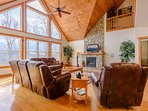 Wildlife Manor Living Room with Gas Stove Fireplace, Flat Screen TV with Surround Sound, Views and Luxury Leather...