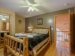 Wildlife Manor Wolf Bedroom with Custom Built Cedar Queen Bed and Cedar Chest
